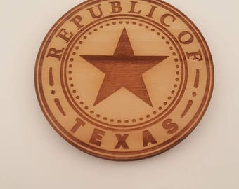 Set of 4 Texas themed set of coasters with holder - made from Alder