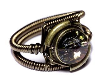 Steampunk Jewelry - Ring - Tabac Swarovski Crystal