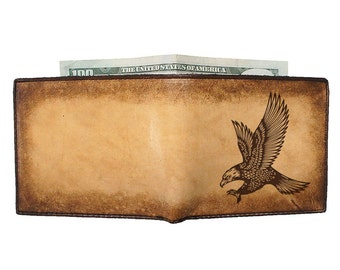 Bifold Leather Wallet - Engraved Wallet - Credit Card Wallet - Swooping Eagle