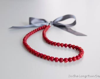 Regency Reproduction Red Coral Ribbon Tie Necklace. Rococo, Colonial, 18th Century, 19th Century, Georgian, Historical.