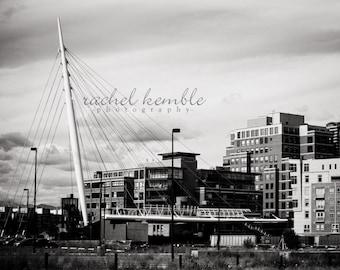 Denver Colorado Millennium Bridge B&W Print