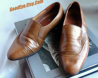 Vintage Men's Stacy Adams Loafer Shoes / size 7 .5 M  Eu 40 UK 7 / Leather and SNAKESKIN Accent Dress Shoe /  Warm BROWN 1970s 80s  Spain