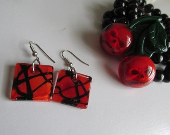 Blood Dripping Vampire Red and Black Earrings Gothic Earrings Red Dangle Earrings Square Glass Earrings