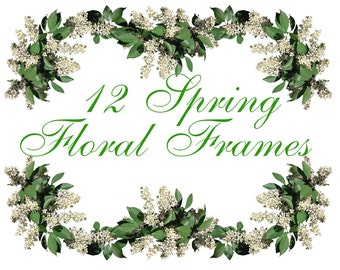 12 Digital Spring Floral frames and corners, wedding clipart, Mother's Day clipart, Printable, Digital Collage, Instant Download, fr 2