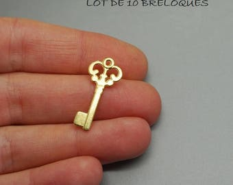 Set of 5 charms gold key (S27)