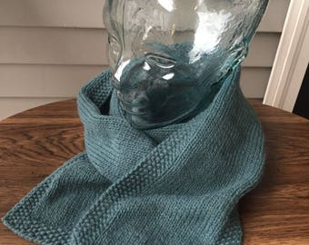 Dusty teal fair trade merino wool knit scarf with seed stitch edge
