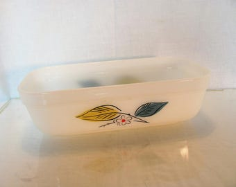 Fire King Loaf Pan / Fire King Salem China Biscayne / Fire King Blue and Gold Leaf Pattern