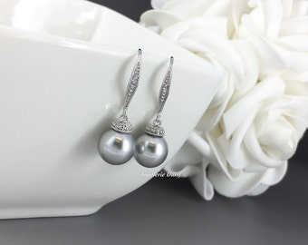 Bridesmaid Earrings Light Grey Pearl Earrings Swarovski Pearl Earrings Bridal Earrings Bridesmaid Gift Wedding Jewelry Pearl Earrings