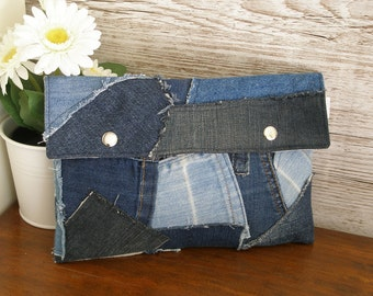 Jeans clutch, Upcycled jeans pouch, Recycled clutch, Upcycled denim, Clutch handbag, Patchwork clutch, Repurposed denim pouch, Denim handbag