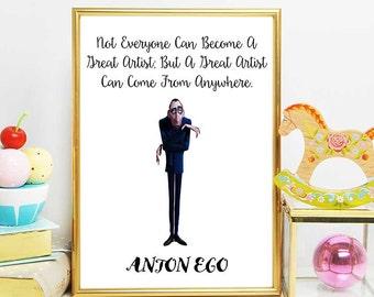 Ratatouille Printable, Disney Quotes, Anton Ego, Ratatouille Print Quote, Nursery Decor, Instant Download, The Food Critic