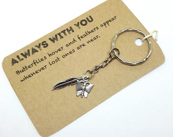 Always With You Butterfly Feather Keyring, Keychain, Bag Charm