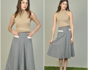 1940s Gray Cotton Skirt with White Pockets | vintage 1940s skirt | gray 1940s cotton skirt