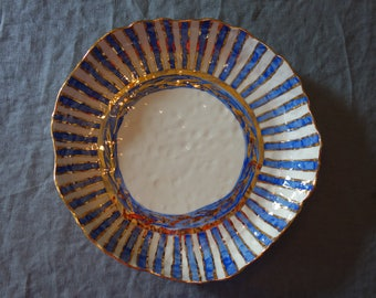 Platter 2 with Stripe and Olive Branch Motif in Blue and Gold