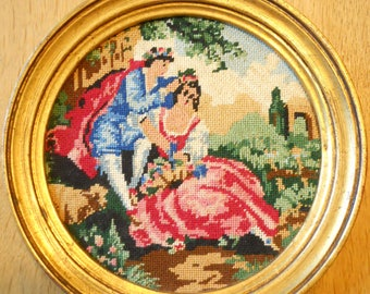 Pretty 1950's Vintage Kitsch French Tapestry Embroidered Boudoir Picture/Sampler in Round Gilt Frame. Small size. Hand made. Romantic