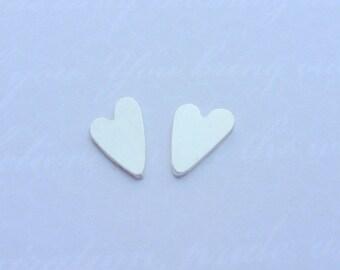 Silver Heart Earrings - Tiny Solid Sterling Silver 925 Small Heart Ear Studs Handmade