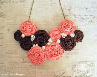 Coral Statement Necklace, Rosette Statement Necklace, Rosette Bib Necklace, Fabric Necklace, Fabric Jewelry, Textile Necklace,Summer Fashion