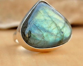 Yellow Labradorite Ring, Natural Yellow Labradorite sterling silver ring, Labradorite Solid silver ring Jewelry