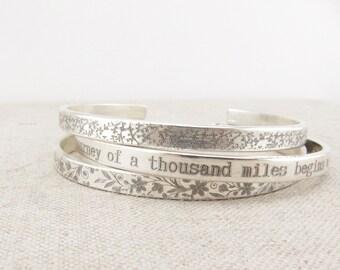 Sterling Silver Bracelet Set -  Pattern Cuff - Stacking Bracelet - Personalized Bracelet - Handwritten Jewelry - Memorial Bracelet