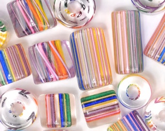 Rainbow David Christensen Furnace Glass Beads (7)