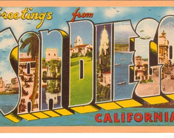 Linen Postcard, Greetings from San Diego, California, Ocean, Naval, Large Letter