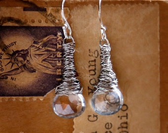 Strung-Out guitar string earrings with Blue Topaz