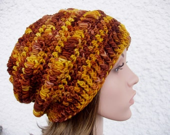 Size M, hand dyed crochet slouchy hat, crochet beanie hat, wool slouchy hat, women slouchy hat,slouchy beanie,brown,yellow,auburn, 100% wool