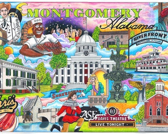 The Who, What and Where of Montgomery, Alabama pack of 10 postcards signed by artist