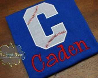 Baseball Letter  Monogrammed and Appliqued Custom Shirt