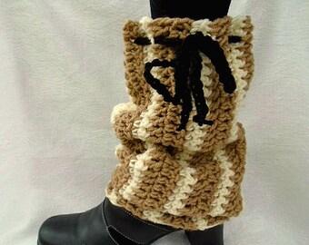 CROCHET PATTERN, Tan Striped Legwarmers, Make any size, Beginner pattern, #845