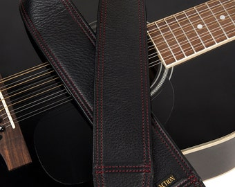 Red Stitching on Black Leather Custom Guitar Strap