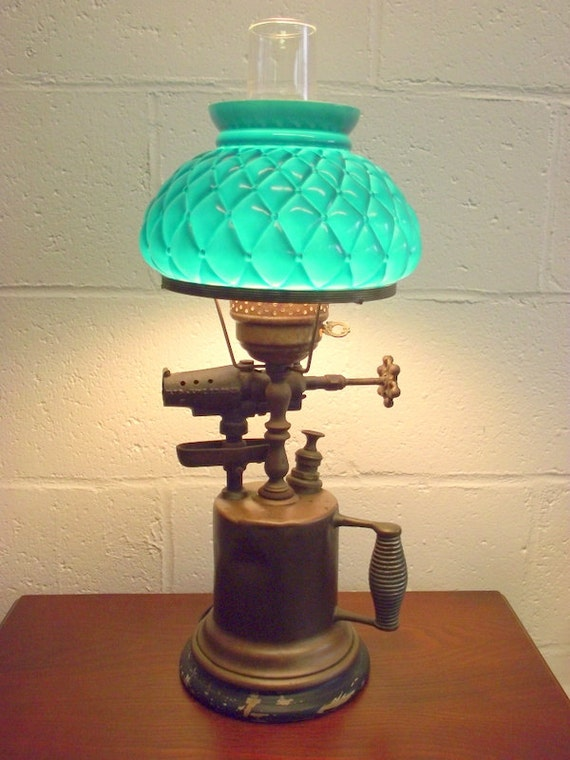 Antique industrial blow torch lamp repurposed green glass