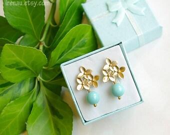 Mint blue earrings gold posts, Flower stud earrings, Gold stud earrings, Dangle drop earrings, Blue and gold earrings, Turquoise earrings