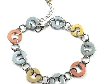 Chain Bracelet Mixed Metal Link Hardware Jewelry