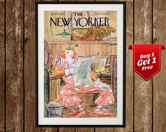 The New Yorker Magazine Cover Poster (1950), New Yorker Poster, New Yorker Print, Clown, Funny Print, New Yorker Cover Illustration, Decor