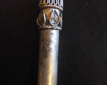 Vintage silver perfume bottle - Antique silver bottle - Rare antique art - Silver perfume - Old scent bottle - Miniature flask/ Silver vial