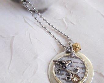 Bird Necklace, Silver Bird Neckace, Bird Pendant Necklace, Bird Jewelry, Round Bird Pendant, Pewter Bird Pendant, Bird with Text Necklace