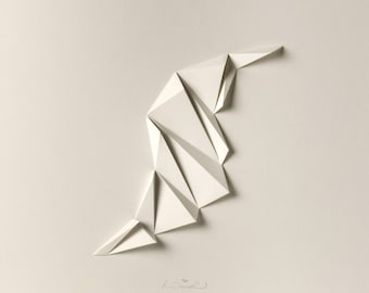 Concrete Art White Paper Relief Geometric Modern Minimal Light Shadow Abstract Wall Decor-Pleat4