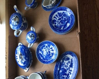 Japanese Blue Willow Childs Tea Set - 27 pieces