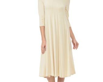 A-Line Trapeze Midi Dress Cream