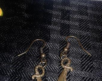 Copper pirate sword earrings