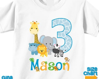 Personalized Birthday Jungle Safari Birthday Party Shirt T-shirt Bodysuit 1st 2nd 3rd 4th 5th Birthday - Shirt in White, Grey, Blue, Pink