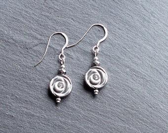 Silvered Hematite Flower Bead Earrings