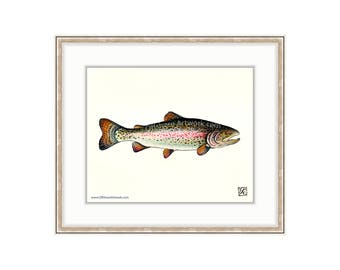 "Rainbow Trout 8""x10"" Giclee Print Of A Watercolor Painting. Fly Fishing Painting for Lake Trout, Speckled Trout, Brook Trout, Jumping Fish"