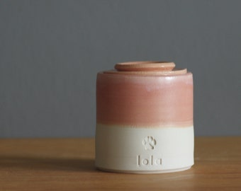 pet urn. lidded customized urn with name and stamp. urn for pet ashes or human cremains. pink rhubarb glaze on porcelain clay shown.
