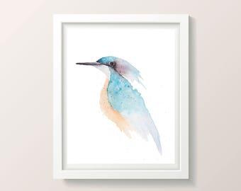 REDUCED Original Kingfisher watercolour bird fine art wall decor nature 29x22cm contemporary bedroom wall art nursery animal nature art