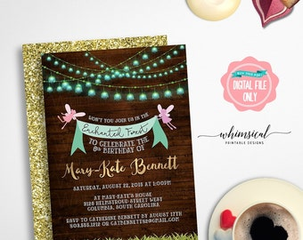 """Fairy Princess Party Invitation """"Fairy Fun"""" (Printable File Only) Enchanted Forest, Fairy Birthday, Fairy Party Invite, Fairy Forest Invite"""