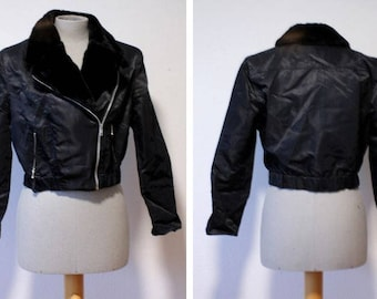 1980's Cropped Black Bomber - Size S-M #1722