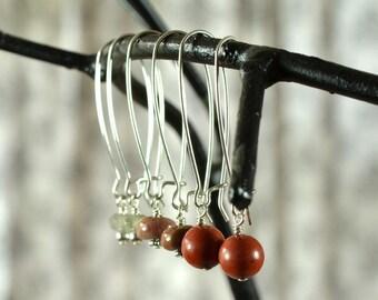 Interchangeable Earrings, Autumn Accessories, Rust Earrings, Interchangeable Jewelry, Gemstone Silver Earrings