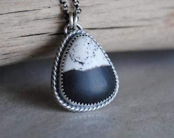 Sterling Silver White Buffalo Necklace, White Buffalo Turquoise Jewelry