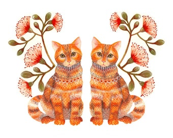 """Cats couple pets art print """"Lacy Twins"""" by OlaLiola, size 7x5 (No. 20s)"""